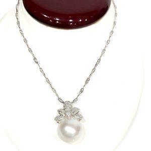 18K White Necklace / Pearl Pendant